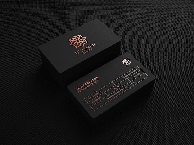 Maquette de logo de luxe sur carte de visite perspective sombre rendu 3d