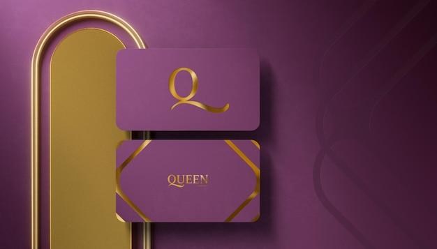 Maquette de logo de luxe sur carte de visite violette