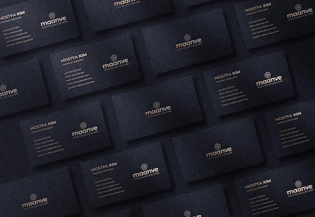 Maquette de logo de luxe et moderne sur carte de visite horizontale