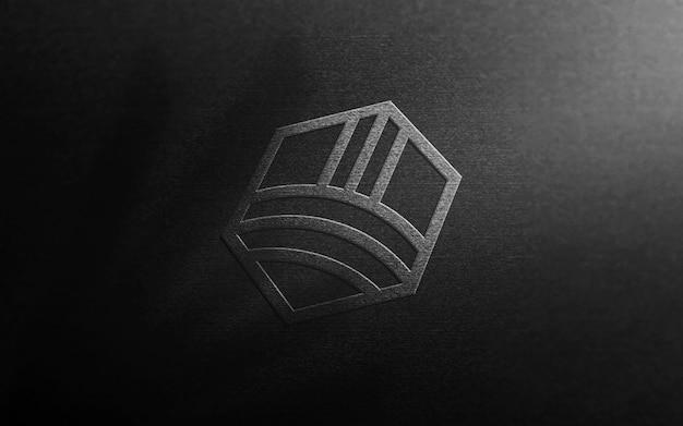 Maquette de logo de luxe sur papier noir carte 3d
