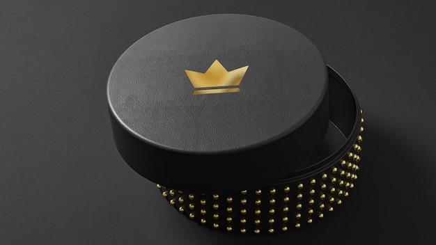 Maquette de logo luxueuse sur une boîte de montre à bijoux noire