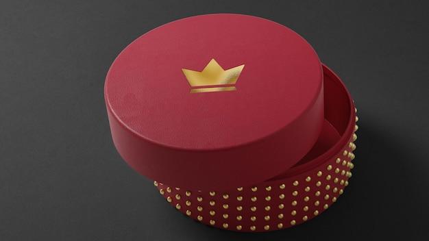 Maquette de logo luxueux de boîte de montre de bijoux rouge