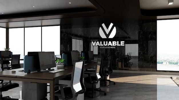 Maquette de logo de marque d'entreprise réaliste dans la salle de travail de bureau de luxe