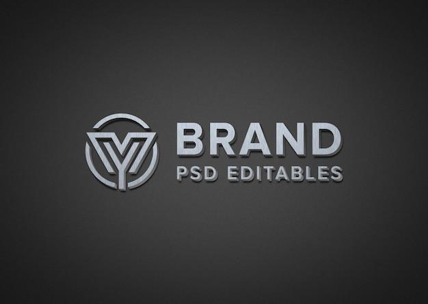 Maquette de logo en métal réaliste