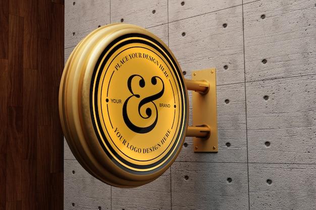 Maquette de logo sur mur de béton