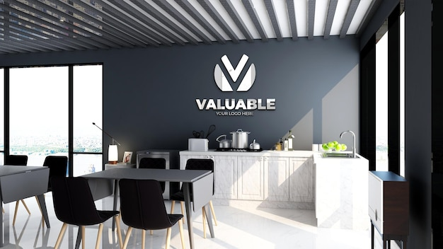 Maquette de logo de mur de bureau d'entreprise dans la zone de garde-manger de bureau modernea