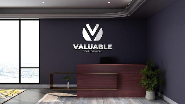 Maquette de logo de mur de bureau de réceptionniste de bureau de rendu 3d