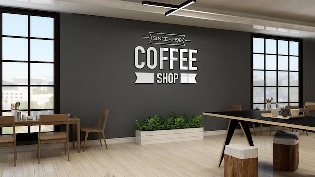 Maquette de logo de mur de café dans le café ou le café moderne