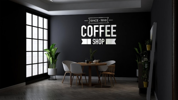 Maquette de logo de mur de café dans la table en bois minimaliste au café ou au restaurant