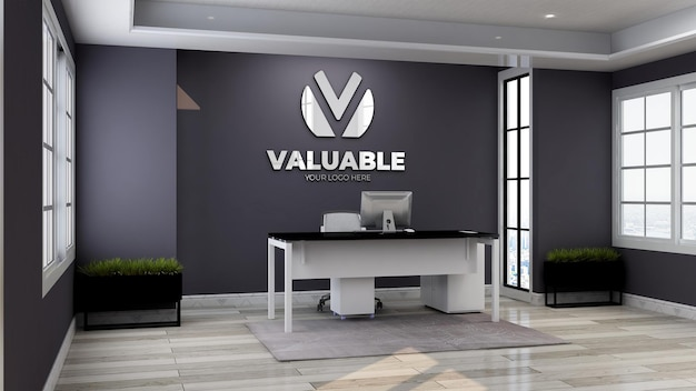 Maquette de logo de mur de chambre de directeur de bureau d'affaires moderne et minimaliste