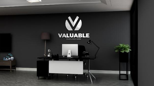 Maquette de logo de mur de chambre de directeur de bureau