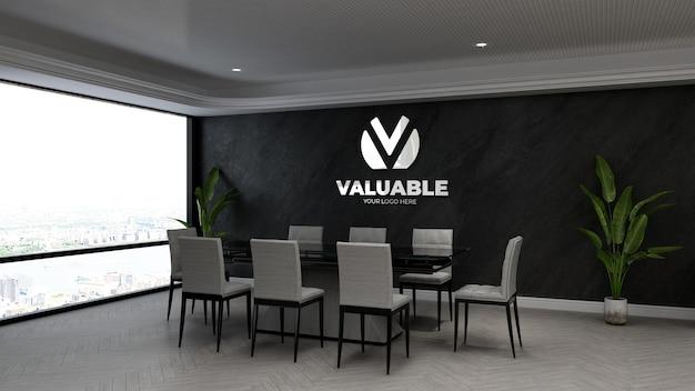 Maquette de logo de mur d'entreprise 3d dans la salle de réunion d'affaires de bureau