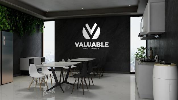 Maquette de logo de mur d'entreprise 3d réaliste dans un intérieur de bar de café moderne ou un garde-manger au bureau