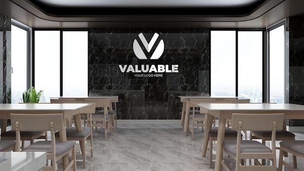Maquette de logo de mur d'entreprise réaliste dans la pause de bureau de luxe ou la cuisine