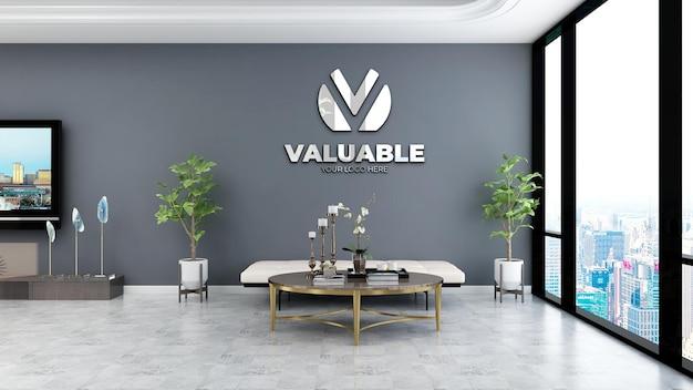 Maquette de logo de mur d'entreprise réaliste dans la salle d'attente du hall du bureau avec mur gris