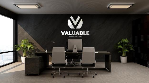 Maquette de logo de mur d'entreprise réaliste dans la salle du directeur d'entreprise de bureau