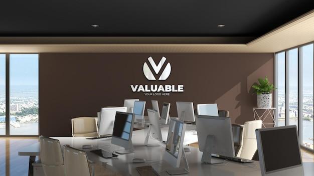 Maquette de logo de mur d'espace de travail de bureau avec wal marron