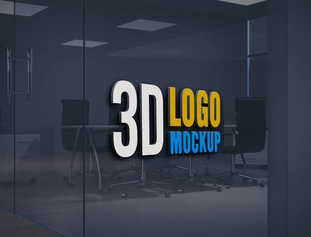 Maquette de logo de mur, maquette de logo de signe de mur de verre de bureau gratuit, maquette de logo de salle de verre de bureau