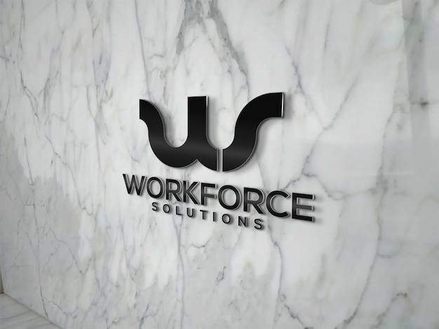 Maquette de logo sur mur de marbre