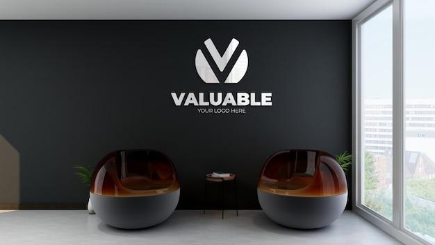 Maquette de logo de mur noir de salle d'attente de bureau moderne