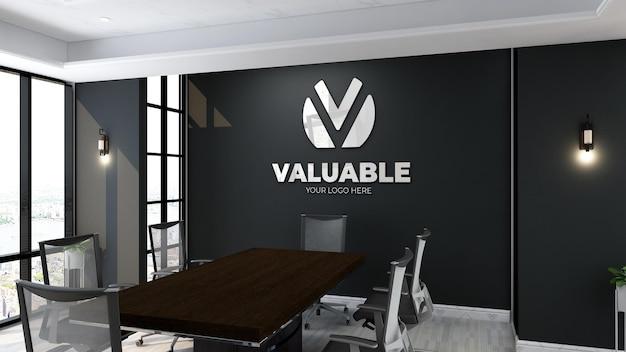 Maquette de logo de mur noir de salle de réunion de bureau moderne
