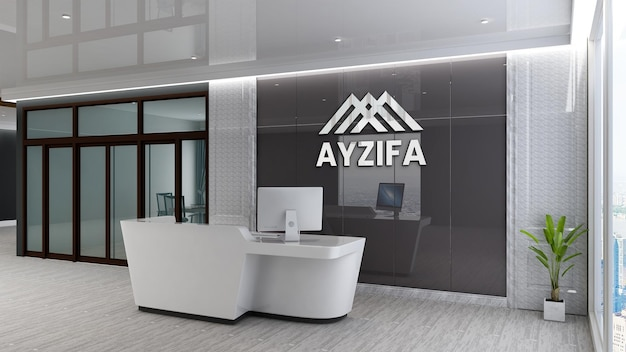 Maquette de logo de mur de salle d'attente de bureau de luxe