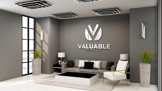 Maquette de logo de mur de salle d'attente de hall de bureau moderne