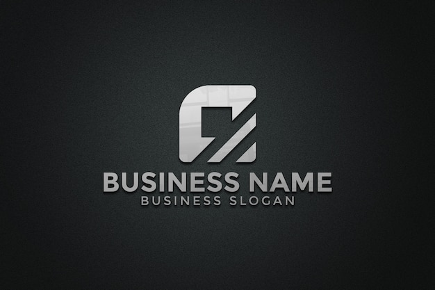 Maquette de logo sur le mur de texture noire