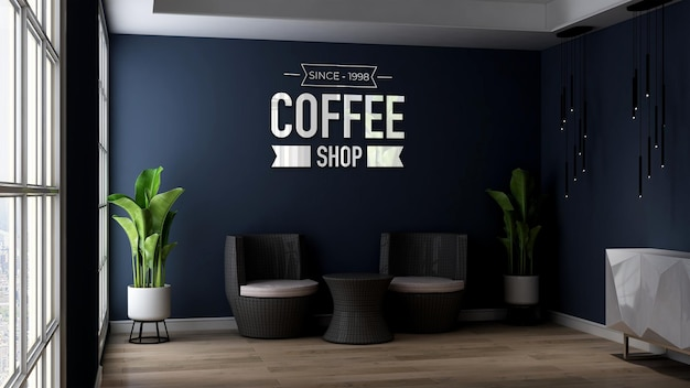 Maquette de logo mural 3d dans un bureau ou un salon relaxant