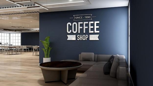 Maquette de logo mural 3d dans un café avec canapé