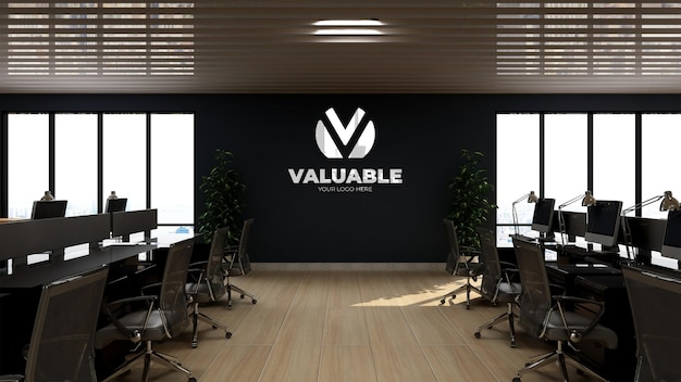Maquette de logo mural 3d dans l'espace de travail de bureau