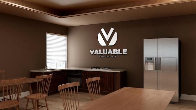 Maquette de logo mural 3d dans le garde-manger du bureau