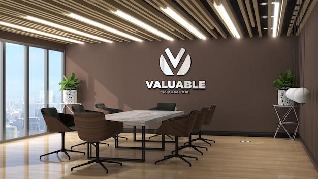 Maquette de logo mural 3d dans la salle d'affaires de la réunion du bureau