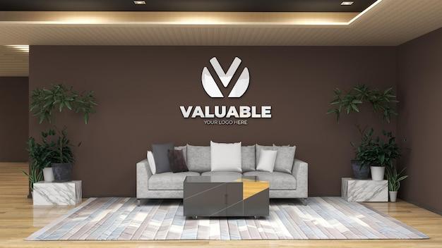Maquette de logo mural 3d dans la salle d'attente du hall du bureau avec canapé pour se détendre