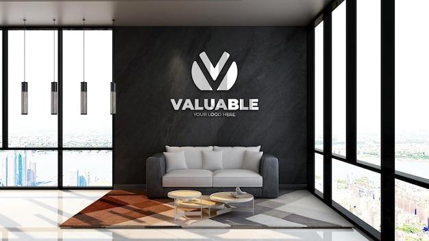 Maquette de logo mural 3d dans la salle d'attente du hall du bureau ou la salle de détente
