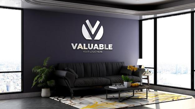 Maquette de logo mural 3d dans la salle d'attente du hall du bureau