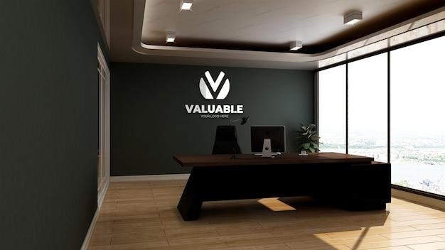 Maquette de logo mural 3d dans la salle du directeur de bureau de rendu réaliste