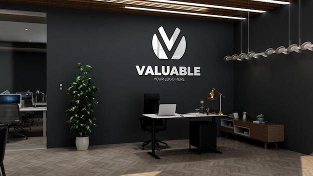 Maquette de logo mural 3d dans la salle du directeur d'entreprise de bureau
