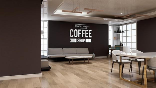 Maquette de logo mural 3d réaliste dans le café avec canapé