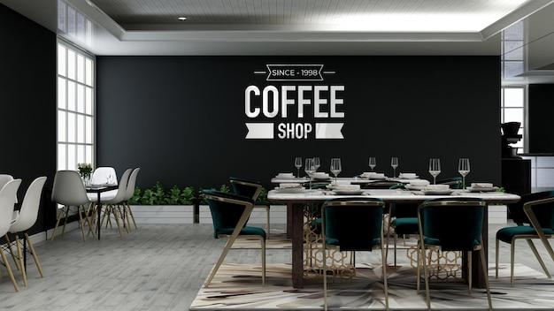 Maquette de logo mural 3d réaliste dans le café