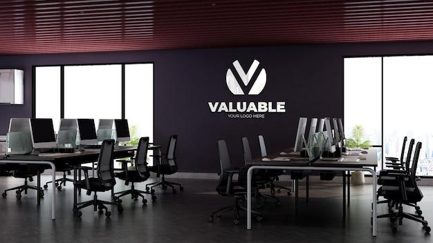 Maquette de logo mural 3d réaliste dans l'espace de travail de bureau