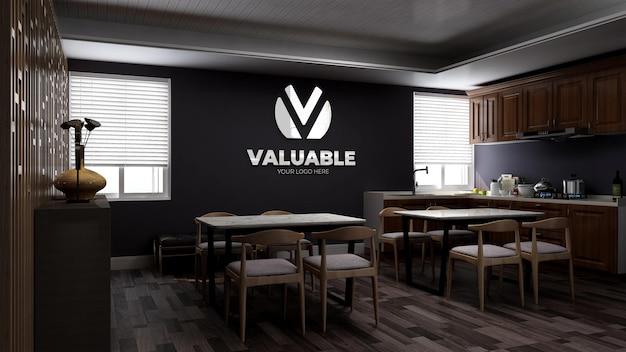 Maquette De Logo Mural 3d Réaliste Dans Le Garde-manger Du Bureau Ou La Cuisine Avec Un Intérieur Au Design Minimaliste En Bois PSD Premium