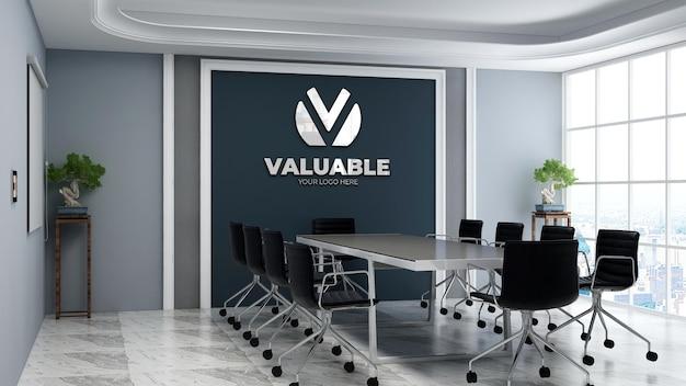 Maquette de logo mural 3d réaliste dans la salle de réunion d'affaires de bureau moderne