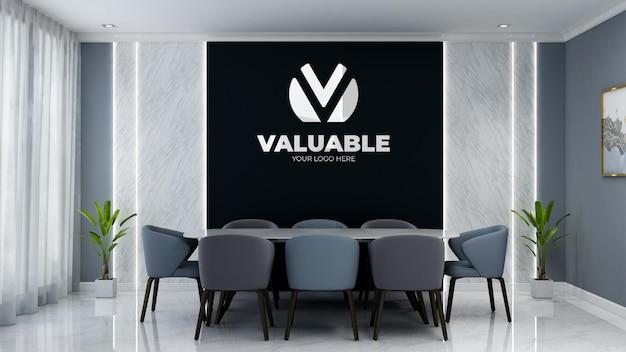 Maquette de logo mural 3d réaliste dans la salle de réunion d'affaires du bureau