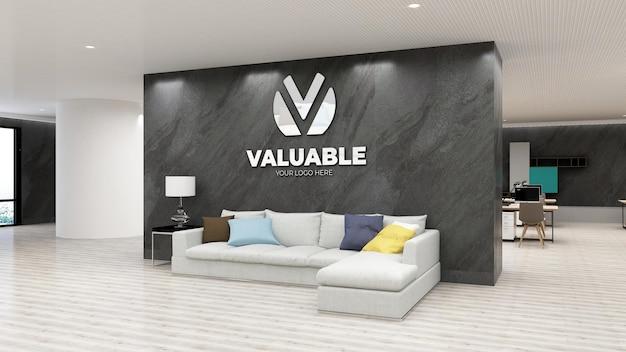 Maquette de logo mural dans un bureau de luxe avec mur de pierre