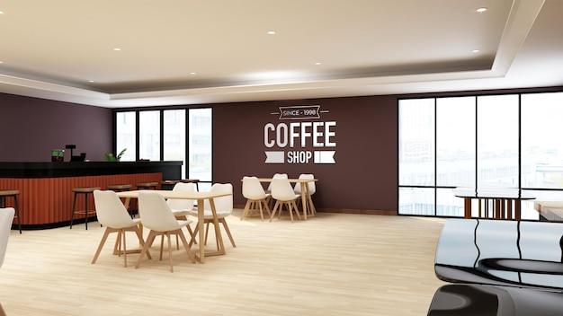 Maquette De Logo Mural Dans Un Café Ou Un Restaurant PSD Premium