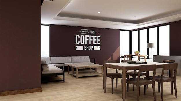 Maquette de logo mural dans un café ou un restaurant