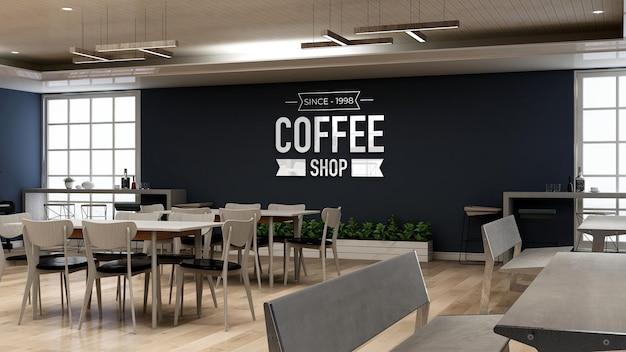 Maquette de logo mural dans le café avec table et bureau