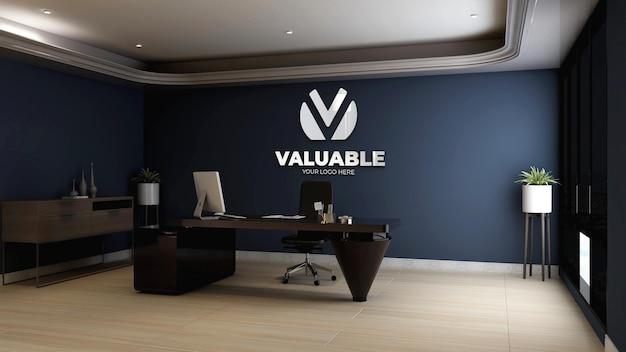 Maquette de logo mural dans la salle du directeur de bureau moderne