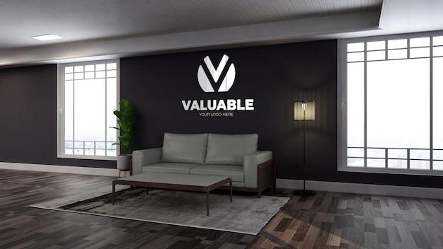 Maquette de logo mural réaliste dans la salle d'attente du hall de bureau en bois